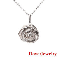 Italian Sterling Silver Rose Flower Pendant Chain Necklace 14.9 Grams NR