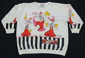 Rare VTG TOON TOPS Roger Rabbit 1987 Half Sleeve Sweatshirt 80s Disney Youth M