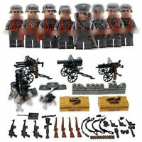8pcs German Soldier Figures Building Blocks set with WW2 Weapons Toys Bricks