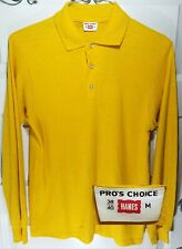 NOS Vintage 1960s Hanes Pro's Choice Long Sleeve Collared T Shirt Tubular Knit M