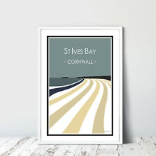 ST IVES BAY quality poster GRAPHIC DESIGN A4 Cornwall Print STRIPY ART