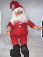 "Vintage Standing Santa 14"" Doll Fibre Craft Plastic Face & Hands LONGJOHNS"