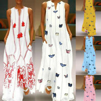 Women Fashion Retro Daily Sleeveless Cotton-Blend Printed Floral Summer Dress