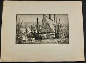 """John Wesley Cotton Hand Signed Etching """"Mousehole Harbor Cornwall"""" 11"""" X 15"""""""