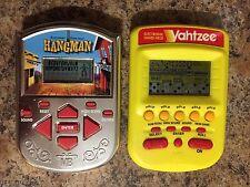 Lot X 2 Milton Bradley Electronic Handheld Games Yellow Yahtzee Chrome Hangman