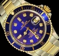 Rolex Mens Submariner Blue 18K Gold Stainless Steel Diamond Two Tone Watch