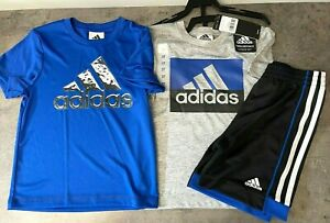 NEW adidas Boys' Kids' 3-piece Size 3T, 6 Set Shorts T-Shirts BLUE/GRAY Logo