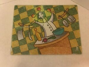 Chef - Large Trivet Plate or Cutting Board - Tempered Glass - Gourmet Traditions