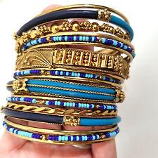 AMRITA SINGH - Gorgeous 18 bangles - Monaco Blues & Turquoise - NEW WITH TAGS