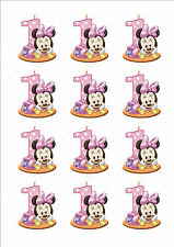 Novedad Minnie Mouse 1st Cumpleaños Chica Rosa Hadas Pastel Cupcake Toppers Comestibles