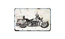 Flhx Motorbike Sign Metal Retro Aged Aluminium Bike