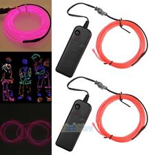 2x 9ft Pink Neon LED Light Glow EL Wire String Strip Car Party Decor +Controller