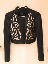 Guess by Marciano Black Metallic Gold Lambskin Leather Jacket Ladies XS