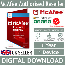 McAfee Internet Security 2018 / 2019 1 Device 1 Year *5 Minute Delivery by Email