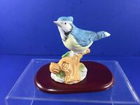 Vintage, Whitetail Society Porcelain Blue Jay Bird Figurine, w/ Base