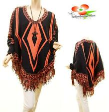 Celebrity Women Aztec Tribal Knit Poncho Fringe Pullover Sweater Top Coat S M L