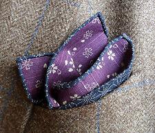 Purple/ Blue Double-Sided Japanese Cotton Handkerchief-Pocket Square - Handmade