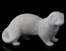 Ferret White Marble Stone Figurine Pet Animal Sculpture Russian Art Statue 5""