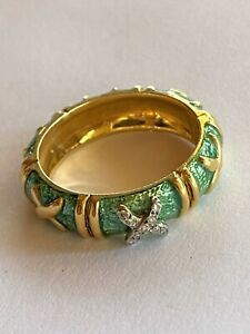 Hidalgo 18K Gold Diamond Green Enamel Band Ring Size 6.25