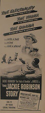 "1950 Jackie Robinson Story Brooklyn Dodgers Baseball~Movie 5 1/2"" x 13 1/4"" AD"