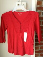BEAUTIFUL RED EDDIE BAUER 3/4-SLEEVE WOMEN'S SHIRT SIZE SMALL NWT!!