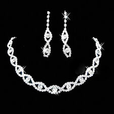 Bridal Wedding Jewelry Set Crystal Rhinestone Diamante Necklace & Earrings Party