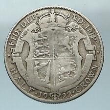1922 Great Britain United Kingdom UK King GEORGE V Silver Half Crown Coin i84561
