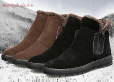 winter outdoor Mens side zip Loafers real leather Snow Ankle Boots cotton shoes