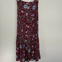 Re:named Burgundy Floral Print Button Front Crepe Fabric Midi Skirt Women's S