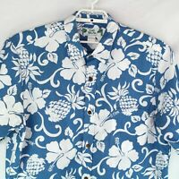 Two Palms Men's Blue White Pineapples Hibiscus Hawaiian Aloha Camp Shirt Size XL