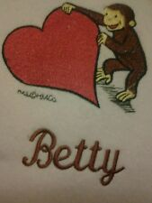 Personalized Embroidery Baby Blanket with Curious George and Heart