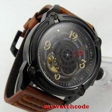 44mm Parnis black dial PVD miyota movement Sapphire Glass automatic mens Watch