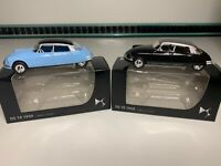 "Citroen DS19 1959 1:58 3"" Norev Pair x2 Diecast Toy Car Blue Black NEW BOX"