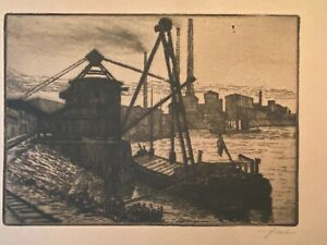 Ashcan Industrial Etching Waterfront WPA Signed Barge Smokestack 1930s