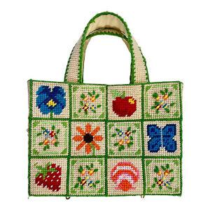 Vintage STRAWBERRY FLOWER BUTTERFLY BIRD Cross Stitch Plastic Granny Hand Bag