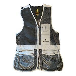 Browning Skeet Trap Sporting Clays Shooting Vest USED Black Grey Padded Shoulder