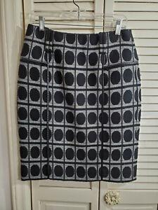 Carlisle pencil skirt in black geometric wool blend Size 6