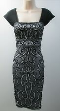 Sue Wong Black Mesh Scroll Print Pleated Sleeveless Square-Neck Short Dress NEW
