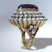 Georgian Amethyst Cabochon Huge Rose Cut Diamond Ring 18K Gold Dress Cocktail