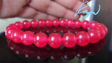 "Genuine Strawberry PINK Bead Bracelet for Men or Women Stretch 8mm - 7.5"" AAA"