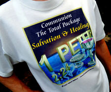 "Christian ""Communion Salvation and Healing"" White Tshirt Unisex X-Large Size"