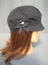 MONSOON ACCESSORIZE BAKER BOY BLACK WITH POLKA DOT BOW & BUTTONS CAP SUNHAT HAT