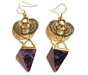 SCARAB BEETLE AMETHYST PYRAMID EARRINGS Ra Egypt Egyptian African Occult W1