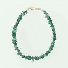 "Emerald Bead Strand Bracelet - 14k Yellow Gold 7"" Rough Cut Green Stones"