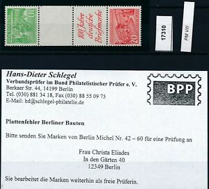 17310) Ideal: Berlin Zd SKZ 1 B einwandfrei postfrisch** + gepr. BPP (KW 450,00)