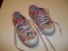 Toddler Girls Pink Glitter Sparkle Sequin Shoes Sneakers Size 7 Tredz