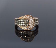 RJM 14K Rose Gold Cognac Fancy Brown Round Diamond Buckle Ring Band 7