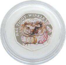 2016 Beatrix Potter Mrs Tiggy-Winkle 50p Cinquante Pence Silver Proof Coin Box COA
