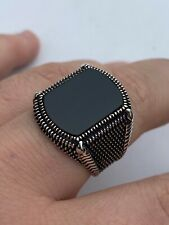 Mens Real 10k Gold & 925 Sterling Silver Black Onyx LARGE Ring Sz 7-13 ~16 Grams
