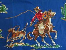 Never Used Cowboys & Indians Bucking Broncos Royal Blue Barkcloth Cotton fabric